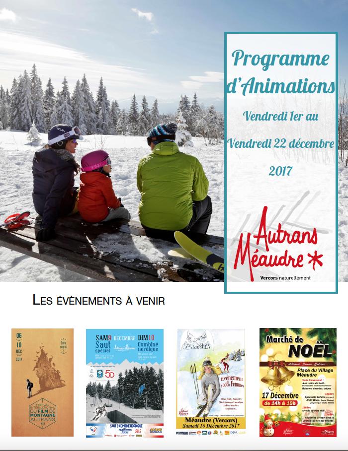 Programme Autrans Méaudre décembre 2017